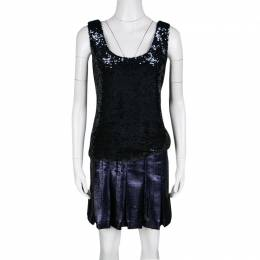 Fendi Metallic Sequined Bodice Drop Waist Pleated Sleeveless Dress S 135094