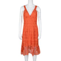 Diane Von Furstenberg Orange Guipure Lace Sleeveless Tiana Flounce Dress M 135327