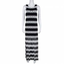 Alice + Olivia Monochrome Striped Crochet Lace Sleeveless Lucia Maxi Dress M 135329