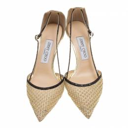 Jimmy Choo Metallic Gold Mesh and Python Trim Pointed Toe Pumps Size 38 136807