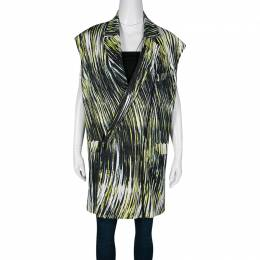 Kenzo Multicolor Printed Cotton Twill Zip Detail Long Sleeveless Jacket M 136373