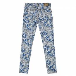 Etro White and Blue Paisley Printed Skinny Denim Jeans S 134680