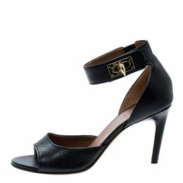 Givenchy Black Leather Sharktooth Ankle Wrap Sandals Size 37.5 137360