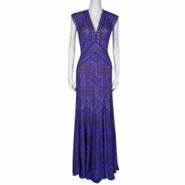 Tadashi Shoji Purple and Beige Floral Embroidered Lace Maxi Dress L 136360