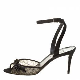 Balenciaga Black Lace Embellished Ankle Strap Sandals Size 38 136351