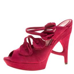 Saint Laurent Magenta Suede Rose Petal Detail Peep Toe Platform Sandals Size 38.5 137169