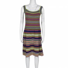 M Missoni Multicolor Textured Striped Knit Sleeveless Dress M 136436