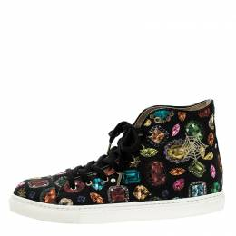 Charlotte Olympia Multicolor Jewel Print Canvas High Top Sneakers Size 38.5