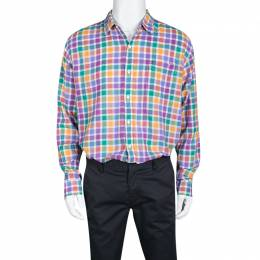 Tommy Hilfiger Multicolor Checked Cotton Long Sleeve Vintage Fit Shirt XL 133687