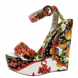 Dolce&Gabbana Multicolor Printed Brocade Peep Toe Ankle Wrap Wedge Sandals Size 39.5 136947