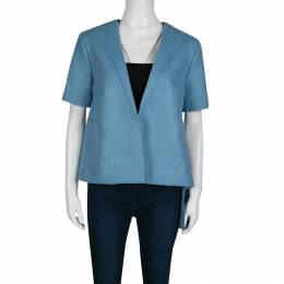 Roksanda Powder Blue Felted Wool Asymmetric Delmore Jacket M 138007