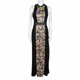 Mary Katrantzou Black Cotton Eyelet Embroidered Floral Printed Alyss Dress M 136887