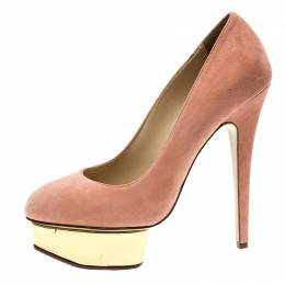 Charlotte Olympia Salmon Pink Suede Dolly Platform Pumps Size 39 136460
