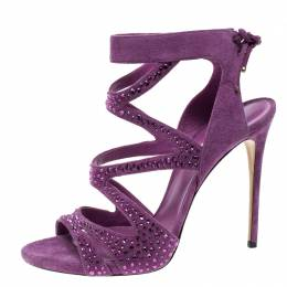 Casadei Purple Crystal Embellished Suede Cut Out Peep Toe Sandals Size 41 137702