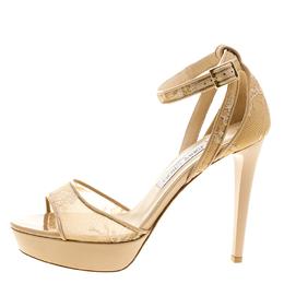 Jimmy Choo Beige Lace Kayden Ankle Strap Platform Sandals Size 38 344007