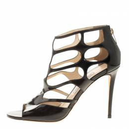 Jimmy Choo Black Patent Leather Ren Cut Out Peep Toe Sandals Size 40 137135