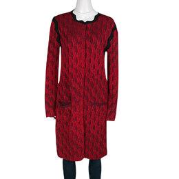 Mary Katrantzou Red Jacquard Contrast Trim Long Powden Cardigan M 136457