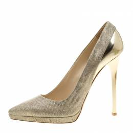Jimmy Choo Metallic Gold Lamè and Leather Aude Pointed Toe Platform Pumps Size 41 130871