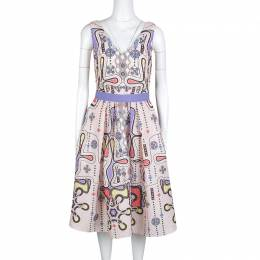 Peter Pilotto Blush Pink 3D Waffle Texture Printed Circle Dress M 130652