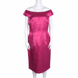 Dior Fuschia Pink Satin Boat Neck Sheath Dress XL 128052
