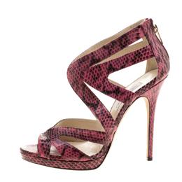 Jimmy Choo Pink Python Collar Platform Sandals Size 41 130933