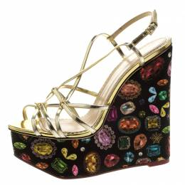Charlotte Olympia Metallic Gold Leather Elizabeth Jewel Print Wedge Sandals Size 40 131502