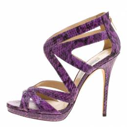 Jimmy Choo Purple Python Collar Platform Sandals Size 41 129838