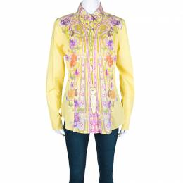 Etro Yellow Floral Printed Cotton Long Sleeve Button Front Shirt L 126314