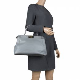 Fendi Grey Leather Medium Peekaboo Top Handle Bag 126421