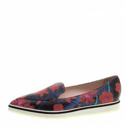 Nicholas Kirkwood Floral Print Leather Alona Pointed Toe Loafers Size 39.5 131498