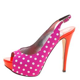 Gina Purple Polka Dot Fabric Peep Toe Slingback Sandals Size 37.5 126477