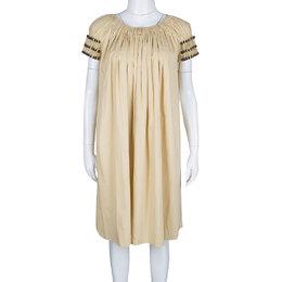Bottega Veneta Yellow Gathered Cotton Button Detail Dress S