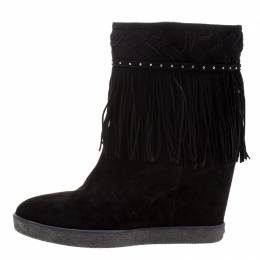 Le Silla Black Suede Concealed Fringed Wedge Boots Size 37.5 123561