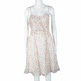 John Galliano Multicolor Floral Printed Silk Sleeveless Dress L 116157