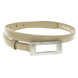 Dolce&Gabbana Beige Glazed Coated Canvas Rectangle Buckle Belt 80cm 123675