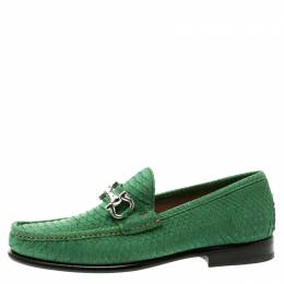 Salvatore Ferragamo Green Python Leather Mason Loafers Size 41 118652