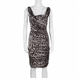 Dolce&Gabbana Grey Animal Print Silk Ruched Sleeveless Dress S 125003