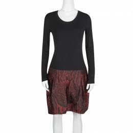 Roberto Cavalli Colorblock Long Sleeve Animal Print Skirt Detail Dress M 124902
