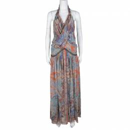 Etro Multicolor Printed Silk Draped Embellished Waist Maxi Dress S 107873