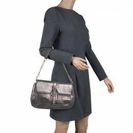 Saint Laurent Metallic Grey Leather Emma Chain Shoulder Bag 111229