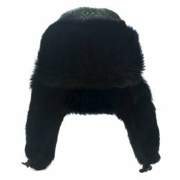 Etro Dark Green Leather and Rabbit Fur Aviator Hat M 111959