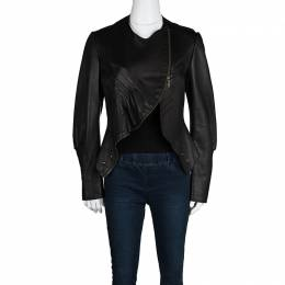 Yves Saint Laurent Hiver'08 Dark Brown Leather Asymmetric Zip Front Jacket M 113554