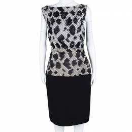 Balenciaga Black Pixelated Snake Pattern Sleeveless Sheath Dress M 110783