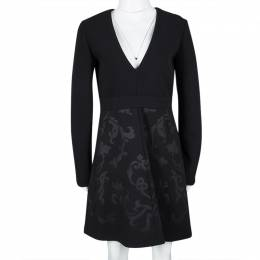 Stella McCartney Black Floral Embossed Jacquard V-Neck Long Sleeve Dress S 111154