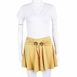 Just Cavalli Mustard Yellow Bull Horn Buckle Detail Mini Skirt S 109314
