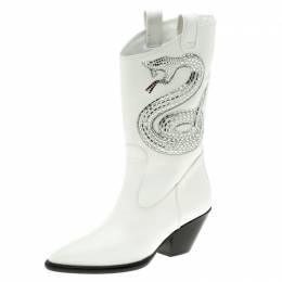 Giuseppe Zanotti Design White Snake Embellished Leather Guns 55 Cowboy Boots Size 37.5