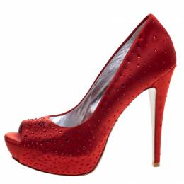 Loriblu Red Crystal Studded Satin Peep Toe Pumps Size 38 98693