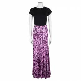 Blumarine Pink Animal Print Maxi Skirt S 104305
