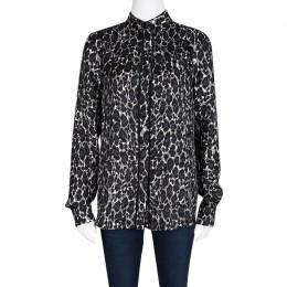 Salvatore Ferragamo Leopard Printed Silk Ladder Lace Insert Long Sleeve Shirt S 106799