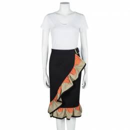 Yves Saint Laurent SS'11 Black Cotton Contrast Ruffle Detail Wrap Skirt M 105139
